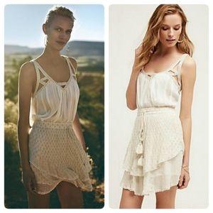 Anthropologie white/gold boho skirt
